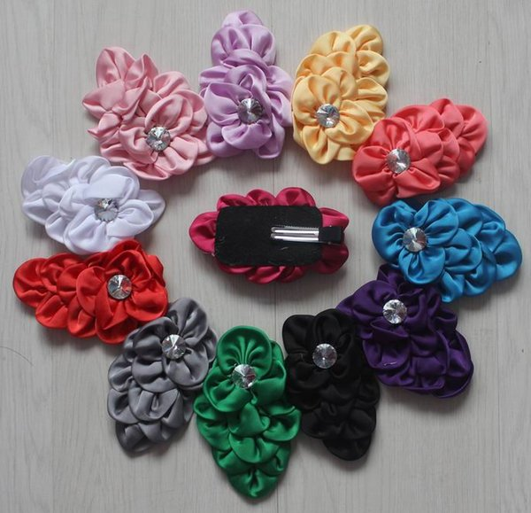 20pcs 4 inch multilayer satin fabric clip flower for girls hair accessories,fabric hair clip flowers for babies,diy clip flower supplies