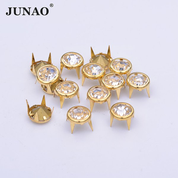 JUNAO 100pcs 10mm Gold Metal Brass Rivets Rhinestones Claw Rivet Decoration Spikes Studs For DIY Leather Clothes Shoes Crafts