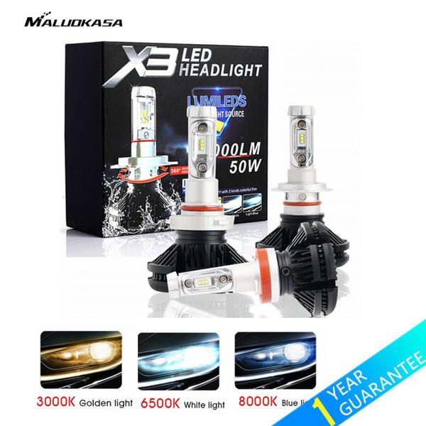 MALUOKASA 2PCs X3 ZES H4 H7 LED Auto-Scheinwerfer-Birne 3000K / 6500K / 8000K gelbe weiße Eis-Blau-Lampe H11 9005 9006 LED DRL Auto-Lichter