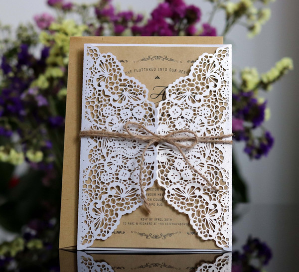 best selling Laser Cut Wedding Invitations OEM in 41 Colors Customized Hollow With Flowers Folded Personalized Wedding Invitation Cards BW-HK54A