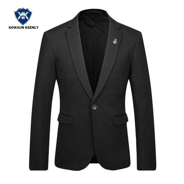 Wholesale-2017 Stylish Men Slim Fit Solid Black Suit Jacket Luxury Casual Blazer Wedding Dress Party Suit Business Dress Men Clothing