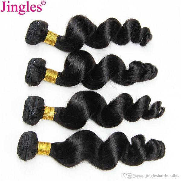 Jingles Raw Indien Vierge Bundles de Tissage de Cheveux Humains Vague Lâche Non Transformés Vierge Extensions de Cheveux Humains 8-28 pouces 3 / 4pcs lot Double Trames