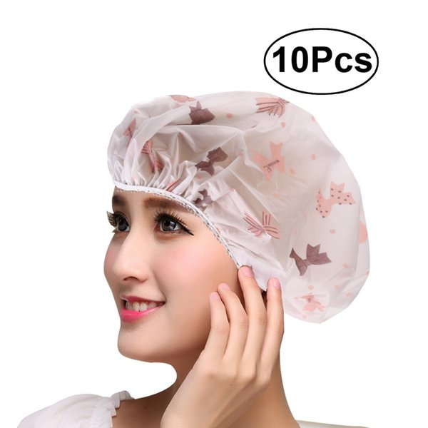 10pcs mujeres a prueba de agua del casquillo del baño de ducha sombrero con oso bowknot globo cereza diseño para adultos