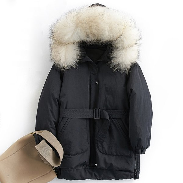 Down coat women winter thick warm 90% white duck down jacket female real raccoon fur trim hood fashion design NPI 81028E