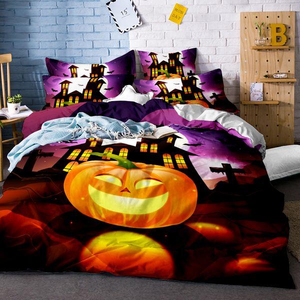 Happy Halloween Bedding Set for Kids 3Pcs Funny Gift 3D Duvet Cover Set Pumpkin Decor Bed Linens Twin Full Queen King Size