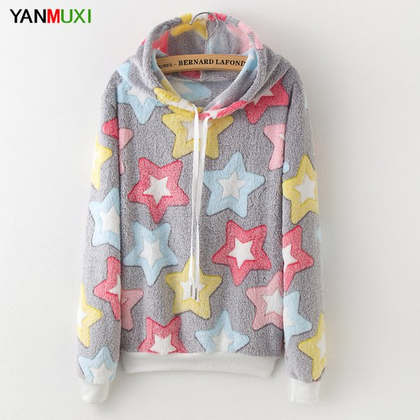 New 2018 Harajuku Kawaii Sheep Star Printed Hoodies Long Sleeve Winter Hooded Sweatshirt Women Cute Panda Print Flannel Pullover L18100701