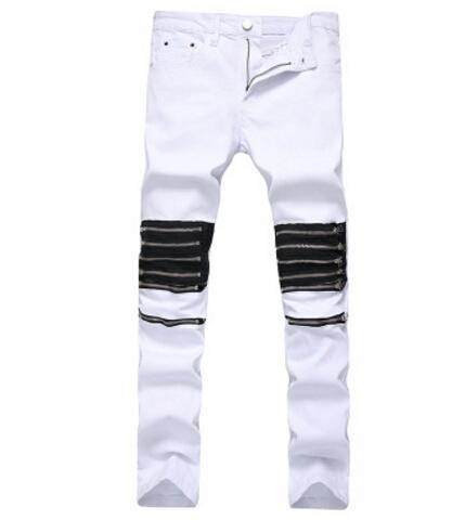 Hommes Blanc Jeans Biker Multi Zips Design Déchiré Conçu Long Pantalon Mince Fit Pantalon Homme Vêtements