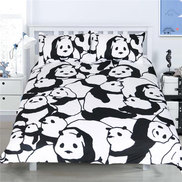 Acheter 2018 Blanc Noir Couleur Housse De Couette Ensemble Twin Complet Queen King Ensembles De Literie Dessin Animé Panda Print Quilt Housse 3d