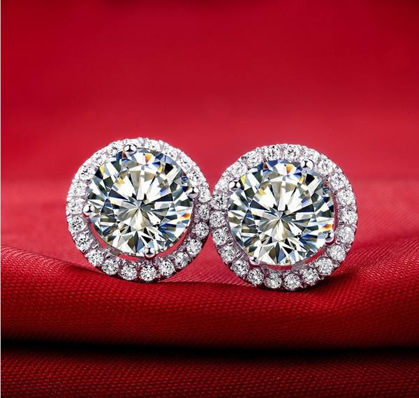 Wholesale Stud Female Earrings 2Ct Halo Style Synthetic Diamonds Stud Earrings for Women Sterling Silver Jewelry Engagement Earrings