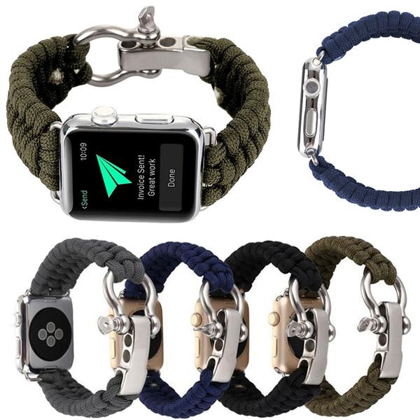 Banda de cuerda de paraguas para Apple Watch Sport Nylon Correa de reloj para iWatch 4 3 2 1 Pulsera tejida para la banda de senderismo 38mm 40mm 42mm 44mm