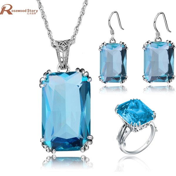 Elegant Big Square Crown Ring/Earrings/Pendant Blue Stone Crystal Real 925 Sterling Silver Jewelry Sets For Women Gift Vintage