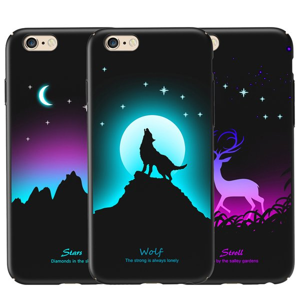 Luminous Protective Case for iPhone 6 / 6s Glow in the Dark Fluorescent Color Changing 3D Relief Painting Slim Hard Back Cover Wholesale