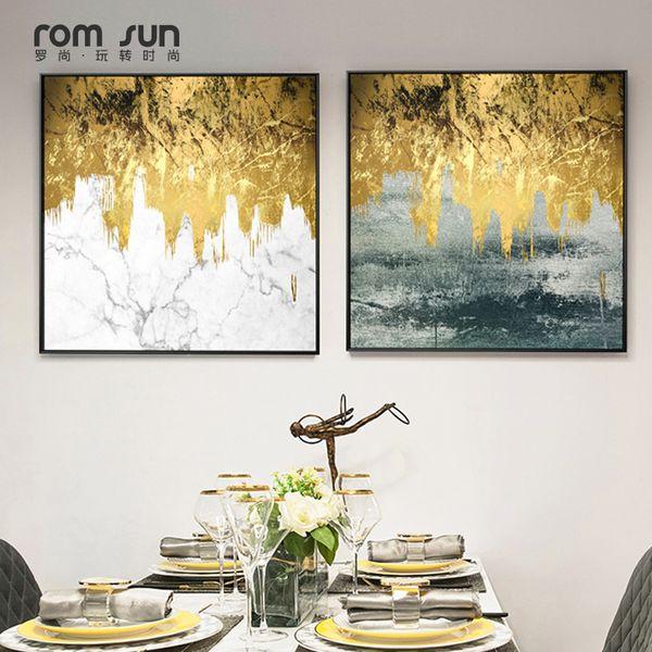 Abstract Golden World Canvas Paintings Wall Pictures para la sala de estar Dormitorio Carteles e impresiones Pop Art Morden Inicio Cuadros HD