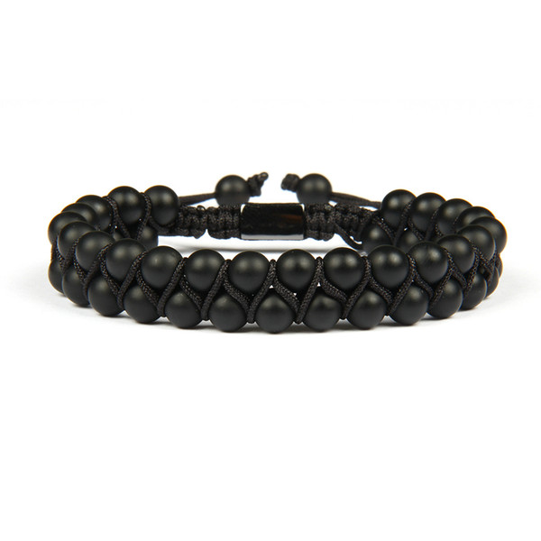 Bracelet Homme Double Beaded 6mm Matte Agate & Black Onyx Natural Stone Beads Macrame Friendship Bracelet Nice Gift Top Quality