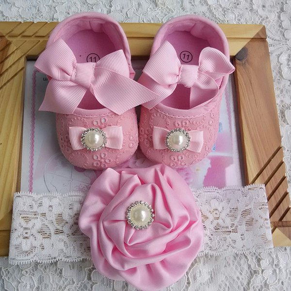 Newborn Baby Girl Shoes Brand,Toddler Infant Fabric Baby Booties Headband Set,Little Girl Walker,pink shoes butterfly