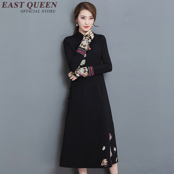 Vendite calde moderno cinese qipao abiti vestito cinese nero qipao abiti tradizionali stampa abito lungo AA1910 W