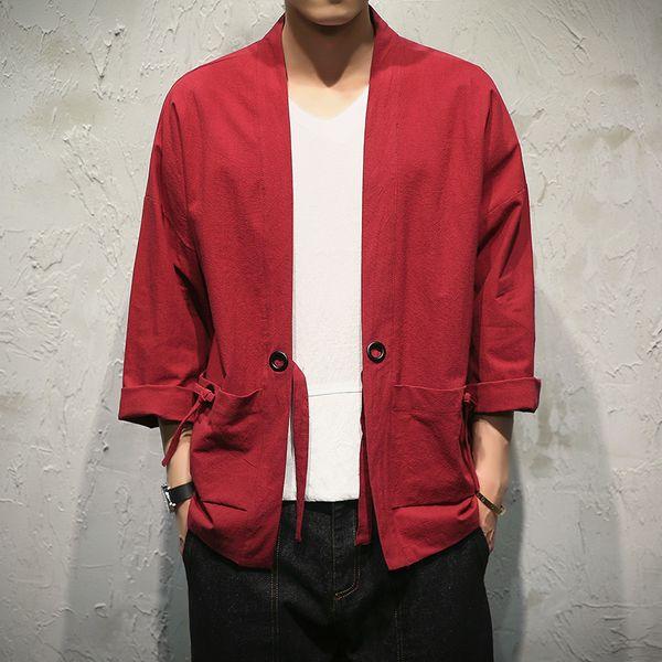 Compre Estilo Hombres 100 Kimono Chaqueta CottonLinen Japón Suelta TTqwrxH