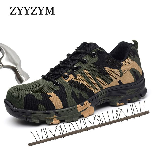 2019 ZYYZYM Men Work Safety Boots Plus Size Outdoor Steel Toe Cap Military Shoes Men Camouflage Puncture Proof Army Boots Sneakers