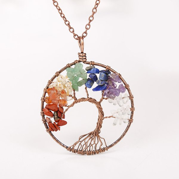 Hotting Stylish Wisdom Tree of Life Nature Stone Bead Pendant Necklaces Rainbow Round For Women Promotion Gifts Stock