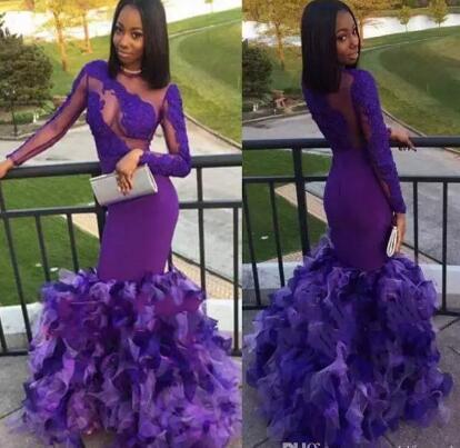 2018 Newest Black Girls Purple Prom Dresses Mermaid Sexy Back Design With Ruffles Unique Evening Dresses Lace Appliques Party Dresses