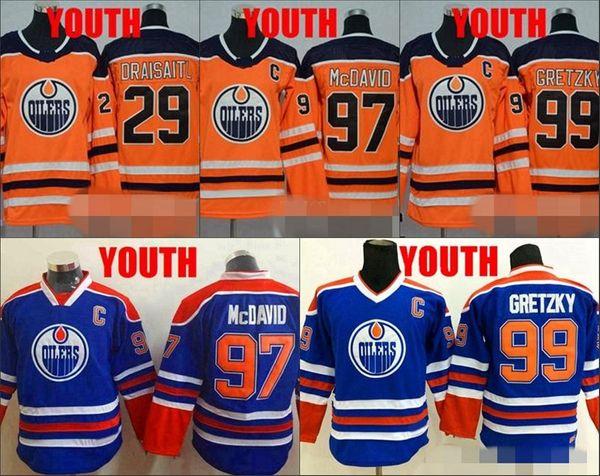 Juventude 97 Jerseys Connor McDavid Edmonton Oilers 29 Camisas de Hóquei Wayne Gretzky Leon Draisaitl 99 Nova Meninos Laranja Meninos Costurado Jerseys