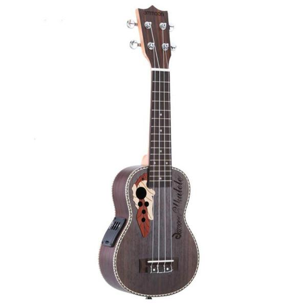 """best selling Ukulele 21"""" Acoustic Ukelele Spruce Ukulele 4 Strings Guitar Guitarra Instrument with Built-in EQ Pickup Free Shipping"""