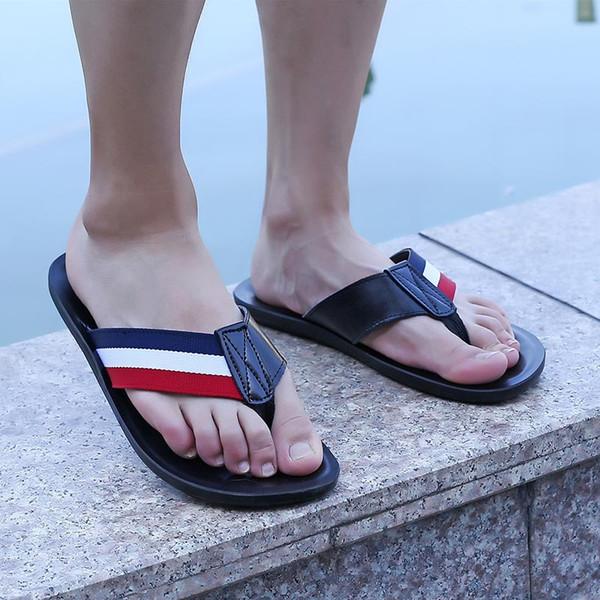 Trend men's flip flops summer pu leather British style sandals and slippers slip feet thick-soled platform sandals