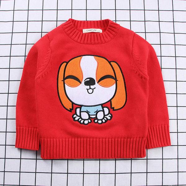 Bebê de Algodão Camisola De Malha Cardigan Crianças Manga Longa Primavera Outono Roupas Infantis Moda Boy Girl Dog Bordado