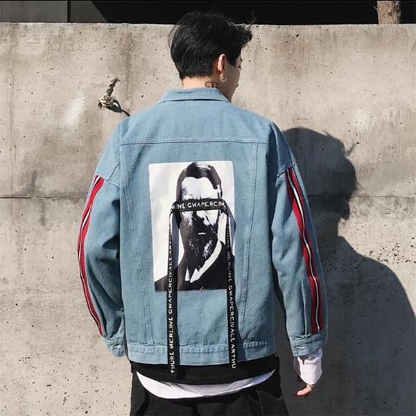 Frete grátis 2018 Moda jaqueta Primavera Outono Nova Jaquetas Tendência Jeans jaqueta para Homens Homens EUA Tamanho S-XXL