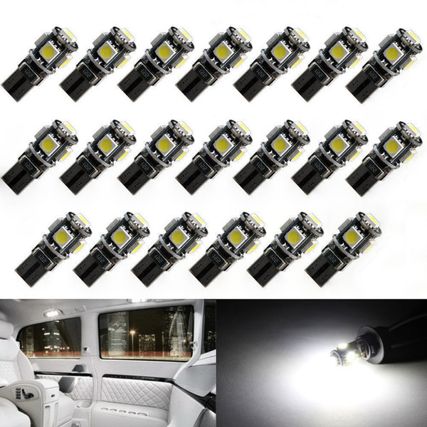 best selling 20pcs High quality T10 CANBUS 5SMD 5050 194 W5W 501 5050 5SMD LED White Car Side Tail Light Bulb t10 led canbus w5w led canbus