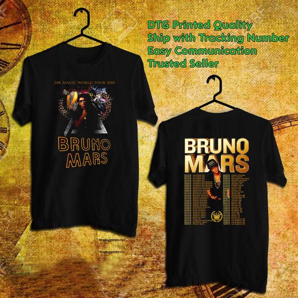 BRUNO MARS World Tour 2018 Shirt 2K Magic World Tour Music Band Unisex Tees  #1 S XXXL Mens Dress Shirt Patriotic T Shirts From Xsy18tshirt, $14 08|