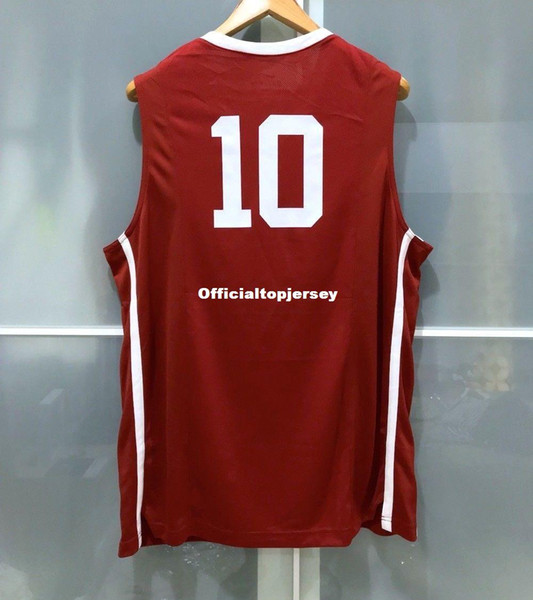 120146230b91 Cheap wholesale Retro SOONERS  10 MENS BASKETBALL ELITE GAME JERSEY MAROON T -shirt vest Stitched Basketball jerseys