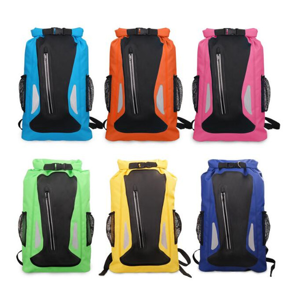 6 Colors 25L Outdoor Water Sports Rafting Bag Camping Beach Climbing Bag Waterproof Dry Storage Bags Adjustable Strap Backpack CCA9564 20pcs