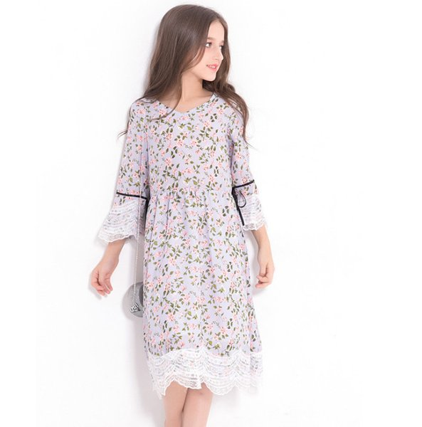 Big girls dress rural style children floral printed princess dress kids lace-up Bows lace embroidery flare sleeve dress fit 4-15 Years F0984