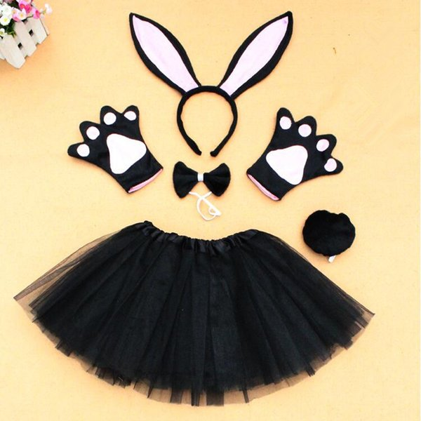 Long Bunny Ear Headband Bow Tie Tail Paws Gloves Tutu Skirt Children Adults Cosplay Costume Set Party Dress Decor