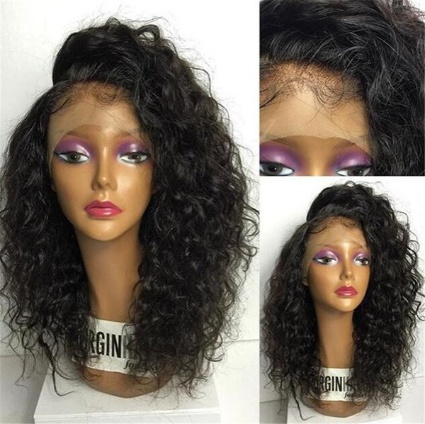 Peruvian Virgin Hair Kinky Curl Color Black Lace Front Wigs Full Lace Human Hair Wigs 150 Density Wigs for White Women
