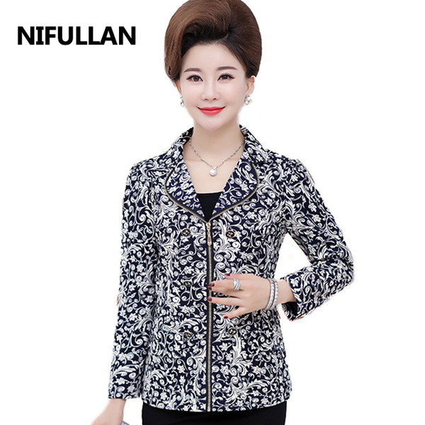 NIFULLAN 2018 Autumn Women Blazer Coat Long Sleeve Zipper Mother's Jacket Office OL High-Grade Fashion Slim Suits Outwear S930