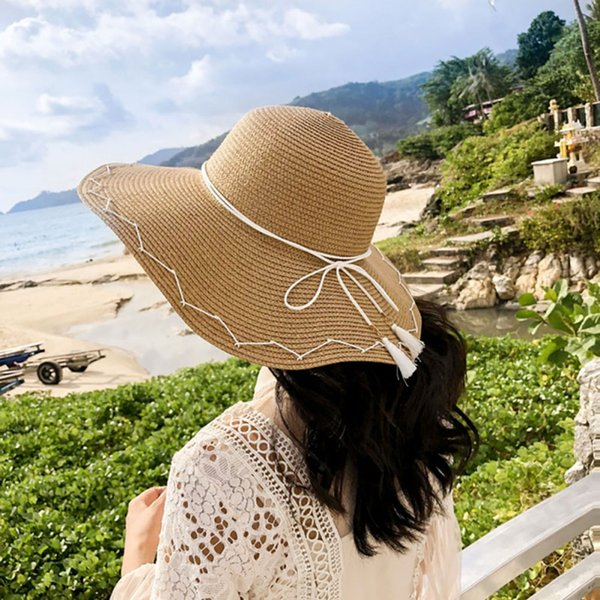 2018 Summer Embroidery Cap Big Brim Ladies Summer Straw Hat Youth Hats For Women Shade Sunhat Beach Caps Leisure Sports & Entertainment