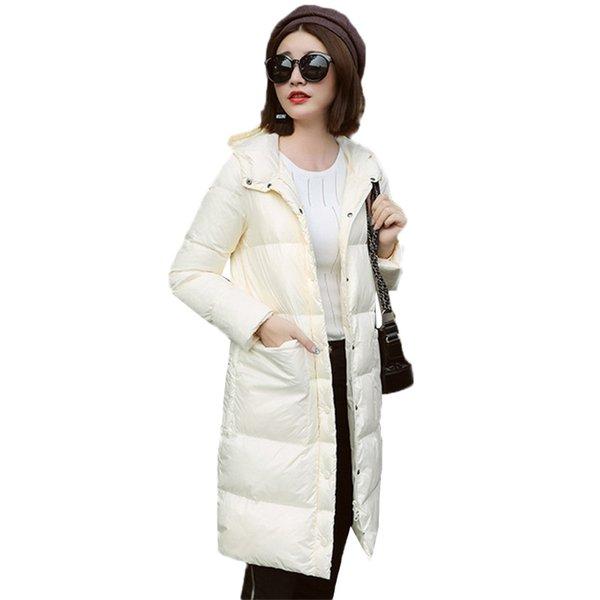 Frauen Licht Dünne Daunenfedern Jacke 2018 Winter Neue Große Größe Mode Mantel Mitte Lange Dünne Weibliche Weiße Ente Daunenjacke DT0434