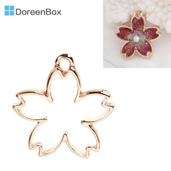 Doreen Box Gold Color Zinc Based Alloy Open Back Bezel Sakura Flower Pendants For DIY Resin Drop Cute/Romantic 3.2x3cm, 1 Piece