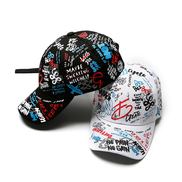 best selling Spring graffiti printing baseball cap Child parent hat Long tail hip-hop hat Wholesale cap