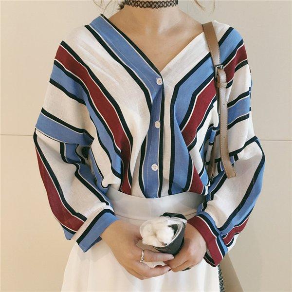 Camisas de rayas flojas del botón de las mujeres ocasionales del verano del cuello en V manga del Batwing del otoño blusa 3/4 sleeved Beach Tops ropa