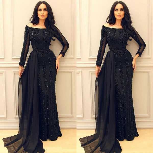 Middle East Arabic Mermaid Evening Dresses with Sparkly Sequins Illusion Sleeves Dubai Vintage Prom Party Gowns Boat Neck Long Formal custom