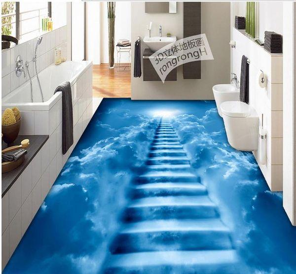 Пользовательские 3D настенная роспись пола обои облако лестница ванная комната 3D настенная роспись пола ПВХ водонепроницаемый самоклеящиеся виниловые обои Home Decor