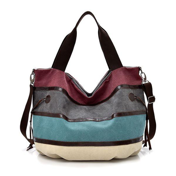 Women's Canvas Multi-Color Handbag Messenger Bag Shopper Tote Cross body Shoulder Bags for Beach Travel