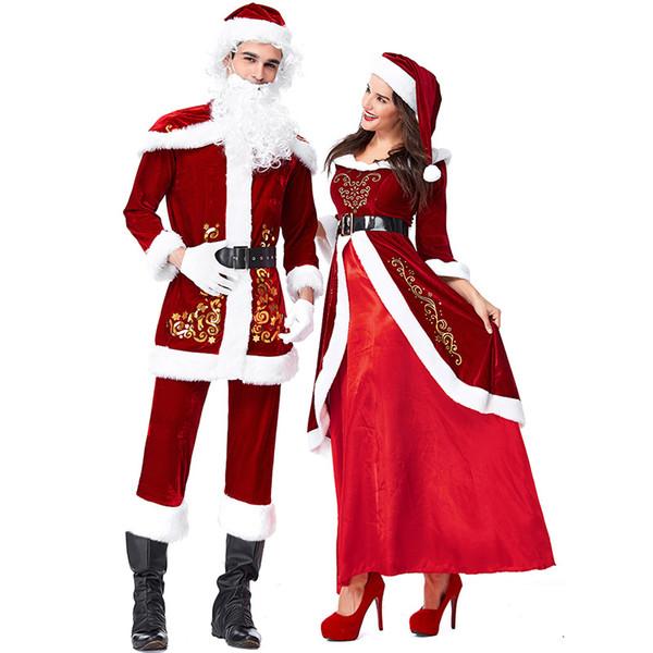 Full Set Of Christmas Costumes Santa Claus For Adults Red Christmas Clothes Santa Claus Costume Luxury Suit White Xmas Costume