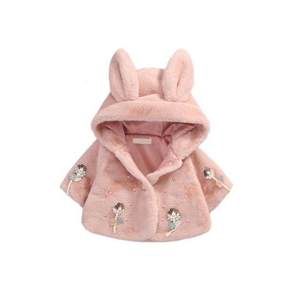 cute baby girls manto coat rabbit ears doll plush warm overcoat for 9-36M girls newborn infant Winter outerwear princess coat