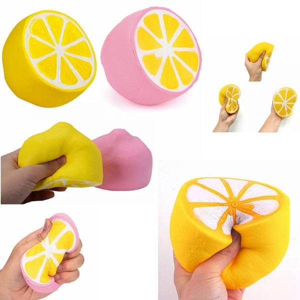 Zitrone squishy Spielzeug Jumbo Slow Rising rosa gelb Kawaii Squishy Squeeze Toy Neuheit Artikel FFA242 120PCS 2colors 11 * 9.6cm