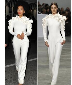 New Arrival Celebrity Dresses White Leg Jumpsuit Long Sleeves High Neck with Flowers Formal Party Evening Dresses Custom Made