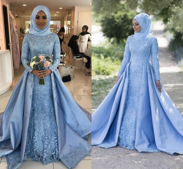 Modest Light Sky Blue Muslim Evening Dresses 2019 Long Sleeves Lace Applique Satin High Neck A-line Prom Dress Vintage vestidos de mariage